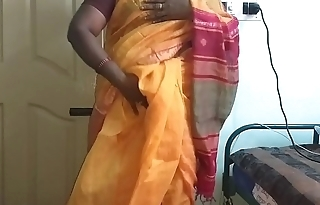 desi  indian horny tamil telugu kannada malayalam hindi cheating fit together vanitha wearing orange impulse saree  showing big boobs and shaved pussy press hard boobs press nip rubbing pussy masturbation