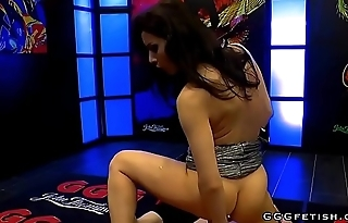 Hot brunette babe receiving permanent cocks and gets cums