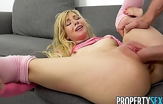 PropertySex - Tiny tight body blonde fucks some big landlord dick
