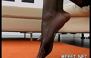 Nasty brunette hair manages to receive hot jizz loads with help of feet
