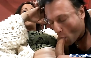 Cute Latin tranny gets a bj from a guy
