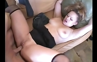 Blonde Milf Golden Jade on sofa gets twat sucked and fucked by thick dong