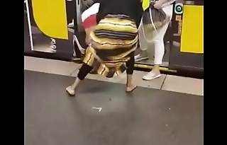 Big booty African milfs fighting in the underpass station