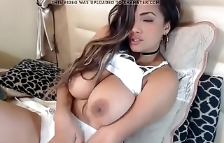 Latina cumming and fondling her big tits