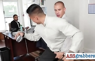 Black gay apprentice got sandwiched properly