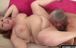 Chubby Redhead Annabel Redd Gets Her Mouth and Pussy Plowed by a Fat Load of shit