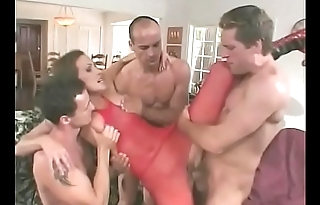 MILF hottie Mandy Bright takes three cocks in her fuckholes like a pro at a party