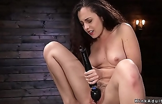 Brunette vibrating and fucking machine