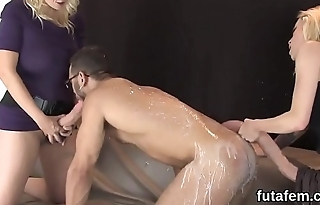 Nymphos screw dudes anal with massive strap-ons and ejaculate jizz