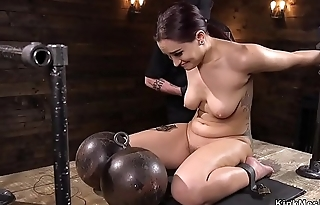 Shackled on the floor ass caned