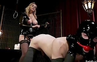 Male in bondage whipped unconnected with dominatrix
