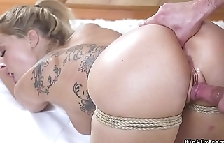 Blonde wife gets anal finger bondage sex