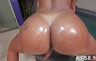 Naughty tranny shows off riding skills gets chocolate hole sporadic out of order