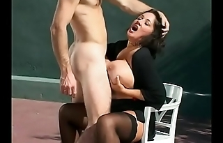 Randy cock sucking babe Rebecca Bardoux is creamed and takes a dick in the cunt on tennis court