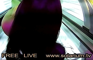 Hot horny unshaded while masturbating on the solarium secretly filmed