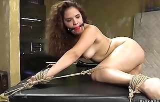 Hot ass babe caned in bondage