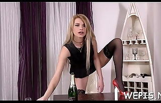 Mischievous chick is pissing and then drilling herself in the first place cam
