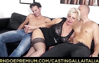 CASTING ALLA ITALIANA - Mature Italian tow-headed gets DP and cum on feet in hot FFM threesome