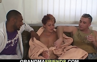 Cock-sucking grandma riding big black cock