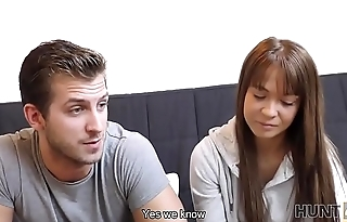 HUNT4K. Chick Angella Christin fucked by stranger on couch for cash