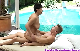 Euro granny dickriding hard by the pool