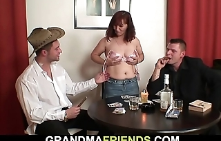 Redhead old mature double-fucked after pasteboard game